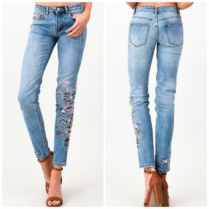 NEW! Vintage Washed Distressed Embroidered Jeans